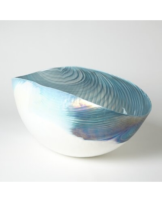 Glass Industrial Decorative Bowl in Blue/White Global Views