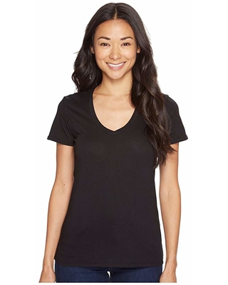 Mod-o-doc Supreme Jersey Fitted S/S V-Neck (Black) Women's T Shirt