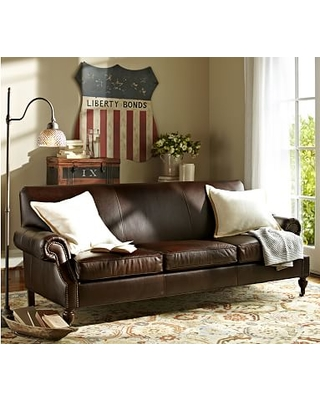Brooklyn Leather Sofa 87 Polyester Wred Cushions Burnished Bourbon