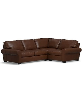 Turner Roll Arm Leather Left Arm 3-Piece Corner Sectional, Down Blend Wrapped Cushions, Legacy Chocolate