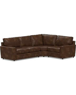 Pearce Square Arm Leather Left Arm 3-Piece Wedge Sectional, Down Blend Wrapped Cushions, Leather Vintage Cocoa