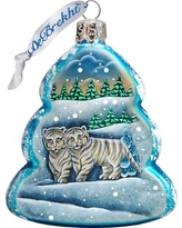 The Holiday Aisle Santa's White Tiger Cubs Glass Ornament THLY6732