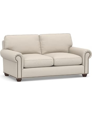 "Webster Roll Arm Upholstered Loveseat 69"" Bronze NH, Down Blend Wrapped Cushions, Performance Brushed Basketweave Oatmeal"