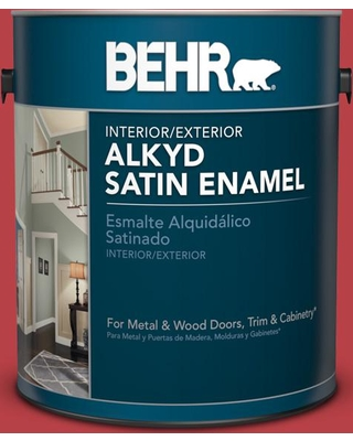 BEHR 1 gal. Home Decorators Collection #HDC-MD-16 Cherry Red Urethane Alkyd Satin Enamel Interior/Exterior Paint