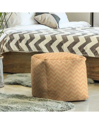 East Urban Home Classic Hand Drawn Chevron Pattern Cube Ottoman W001706603 Upholstery Color: Yellow/Orange