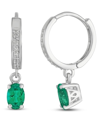 Jared The Galleria Of Jewelry Lab-Created Emerald/Sapphire Earrings Oval Sterling Silver