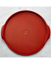 Emile Henry Ribbed Pizza Stone, Red