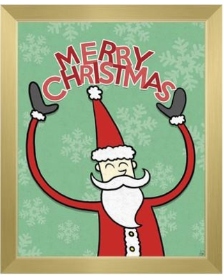 """Click Wall Art 'Merry Christmas - Red Santa' Framed Graphic Art KXM0000013F Format: Gold Framed Size: 10.5"""" H x 12.5"""" W"""