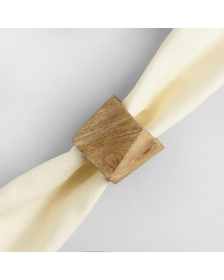 Natural Wood Geometric Napkin Rings Set Of 4 by World Market