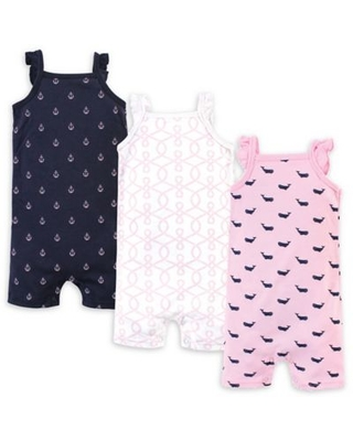 Hudson Baby® Size 9-12M 3-Pack Pink Whale Sleeveless Rompers