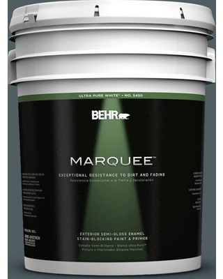 BEHR MARQUEE 5 gal. #740F-6 Marine Magic Semi-Gloss Enamel Exterior Paint and Primer in One