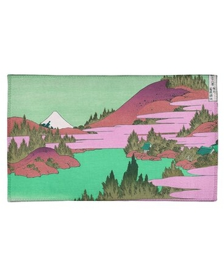 Lake at Hakone in Sagami Province Pink/Green Area Rug East Urban Home Rug Size: Rectangle 2' x 3'