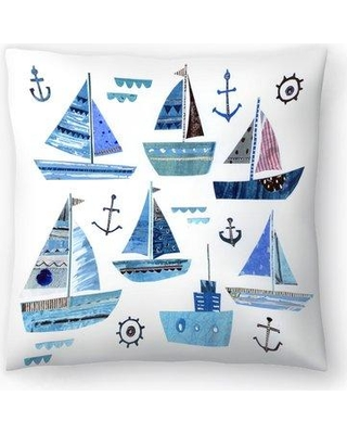 "East Urban Home Liz and Kate Pope Boats Throw Pillow EBIC1703 Size: 14"" x 14"""