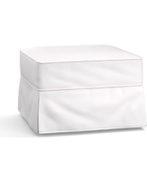 Buchanan Slipcovered Ottoman, Polyester Wrapped Cushions, Twill White