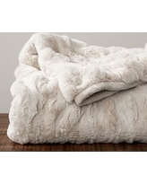 "Ruched Faux Fur Oversized Throw, 60 x 80"", Ivory"