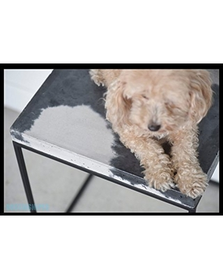 Cowhide-Style Concrete Topped Cube Side Table, Stool, End Table, or Nighstand