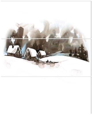East Urban Home 'Winter Fairytale Forest' Print Multi-Piece Image on Wrapped Canvas EBHU4617