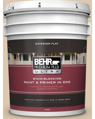 BEHR Premium Plus Ultra 5 gal. #N270-2 Lentil Flat Exterior Paint and Primer in One