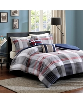 Blue & Red Plaid Carson Multiple Piece Comforter Set (Full/Queen) - 5-pc, Blue Red White