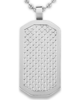 Men's West Coast Jewelry Stainless Steel Honeycomb Textured Dog Tag Pendant, Silver