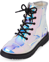 Girls Holographic Lace Up Boots