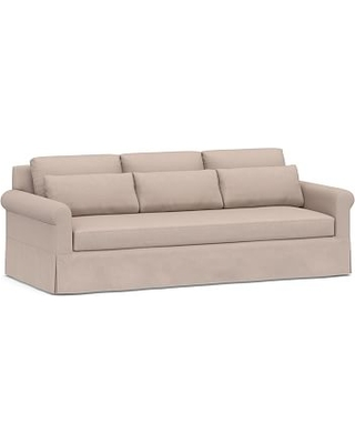 """York Roll Arm Slipcovered Deep Seat Grand Sofa 98"""" with Bench Cushion, Down Blend Wrapped Cushions, Performance Heathered Tweed Desert"""