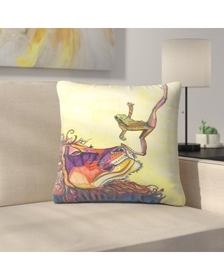 "Frog And Lion Throw Pillow East Urban Home Size: 20"" x 20"""