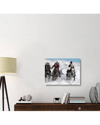 """'Winter Horse Race' Photographic Print on Canvas East Urban Home Size: 24"""" H x 32"""" W x 1.5"""" D"""