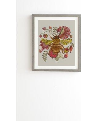"""East Urban Home 'Bee Awesome' Framed Graphic Art Print on Wood ERNI6111 Size: 22.4"""" H x 19"""" W x 1.5"""" D Format: Gray Framed"""