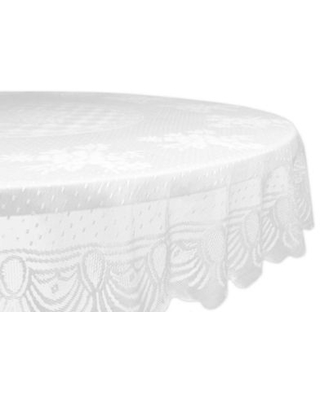 Design Imports Lace Floral 63-Inch Round Tablecloth in White