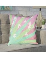 """Brayden Studio Enciso Birds and Sun Square 100% Cotton Pillow Cover BYST5057 Size: 26"""" x 26"""", Color: Green/Pink"""