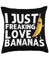Cute Fitness Enthusiast Food Sunglasses Designs Funny Banana Gift Men Women Fruit Eater Lover Healthy Foodie Throw Pillow, 18x18, Multicolor