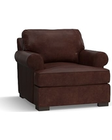 Townsend Roll Arm Leather Armchair, Polyester Wrapped Cushions, Leather Statesville Espresso