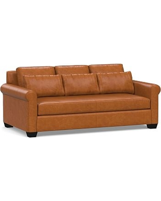 York Deep Seat Roll Arm Leather Sofa 83 With Bench Cushion Down Blend Wred