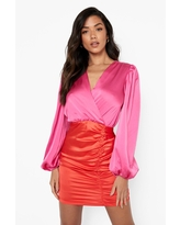 Womens Satin Colour Block Wrap Ruched Mini Dress - Red - 2