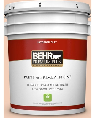 BEHR Premium Plus 5 gal. #M210-3 Apricot Freeze Flat Low Odor Interior Paint and Primer in One