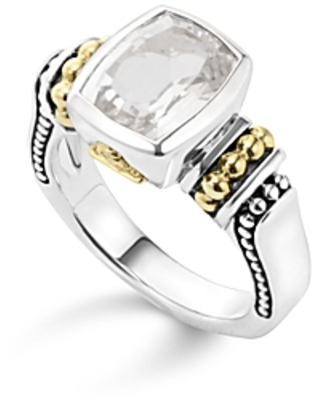 Lagos 18K Gold and Sterling Silver Caviar Color Small Ring with White Topaz