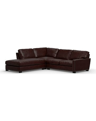 Turner Square Arm Leather Right 3-Piece Bumper Sectional with Bronze Nailheads, Down Blend Wrapped Cushions, Signature Espresso