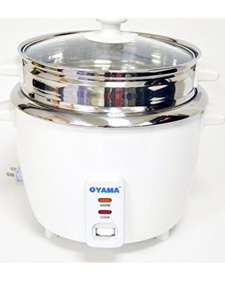 OYAMA Stainless 16-Cup (Cooked) (8-Cup UNCOOKED) Rice Cooker, Stainless Steel Inner Pot, Stainless Steamer Tray (CNS-A15U)