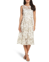 Adrianna Papell Midi Dress, Size 8 in Ivory/Gold at Nordstrom
