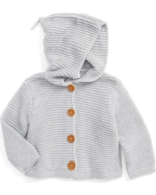Infant Nordstrom Baby Organic Cotton Hooded Cardigan, Size 18M - Grey