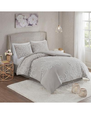 Madison Park King/Cal King 100% Cotton Tufted Comforter Set in Grey/White - Olliix MP10-6393
