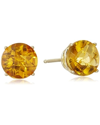 10k Yellow Gold Round Checkerboard Cut Citrine Stud Earrings (6mm)