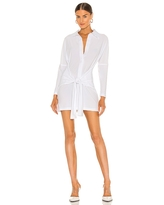 Norma Kamali Mini Tie Front NK Shirt Dress in White. - size XS (also in L, M, S)