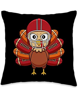 Family Matching Turkey Thanksgiving Gift Co. Funny Turkey Football Player Thanksgiving Gift Throw Pillow, 16x16, Multicolor