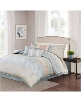 9e6553c40409 Madison Park Bennett Queen 7 Piece Comforter Set in Aqua - Olliix MP10-2415