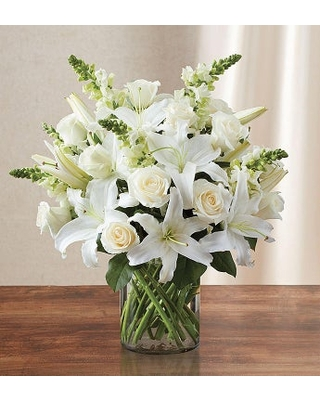 Classic All White Arrangement for Sympathy Large