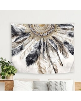 "East Urban Home PI Creative Art Necklace of Feathers I Tapestry FCJE8261 Size: 68"" H x 80"" W"