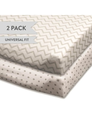 Changing Pad Cover Set | Cradle Sheet Set 100% Cotton Jersey Knit 2 Pack Grey and White Chevron and Polka Dots