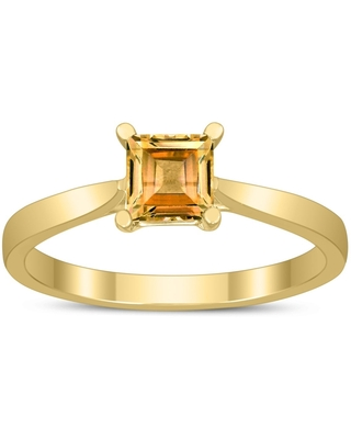 Square Princess Cut 5MM Citrine Solitaire Ring in 10K Yellow Gold (6)